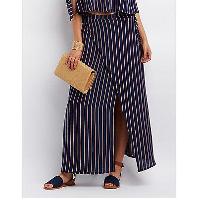 Blue Striped Maxi Wrap Skirt - Size M