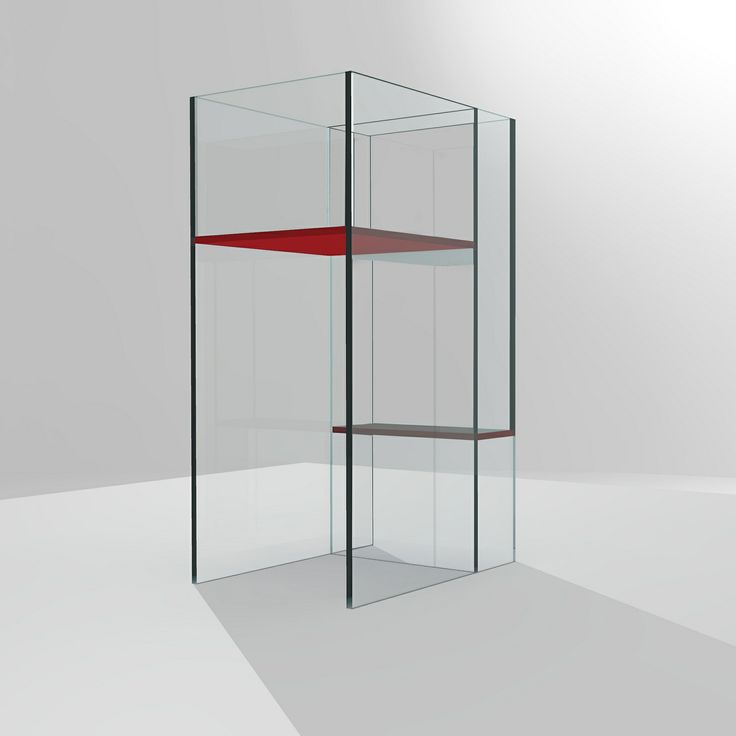 #LINEA Vase in extra-clear glass welded through UV method with painted shelves.