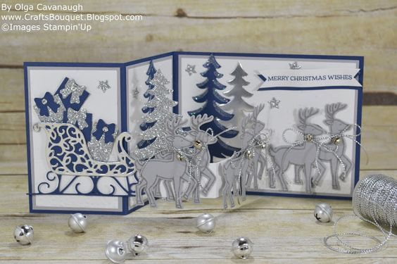 Z-Fold Card made with Stampin'Up Santa's Sleigh stamp set and thinlits Bundle.: