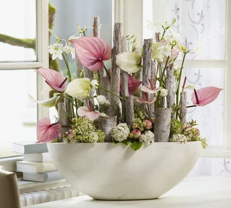 Pastel combination with Eucharis, pink and white Anthurium, Lisianthus and ranonculus