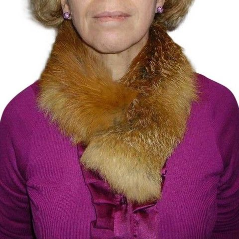 "Fox skin collar - Light Brown ""tie"" - Natural fur"
