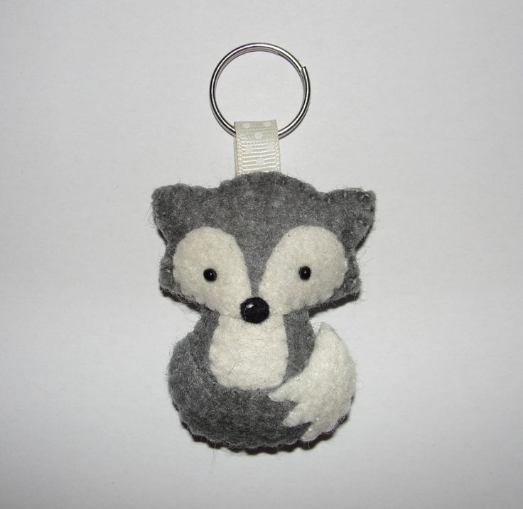 Wool Felt Arctic Fox Keychain, Gray Fox Keychain, Plush Fox Keyring, Keyring, Key Holder, Gift Bag, Bag Charm, Decor, Ornament, Felt Animal by NitaFeltThings on Etsy