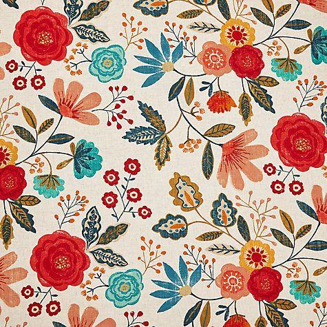 Buy Harlequin Caspia Furnishng Fabric, Coral / Indigo Online at johnlewis.com