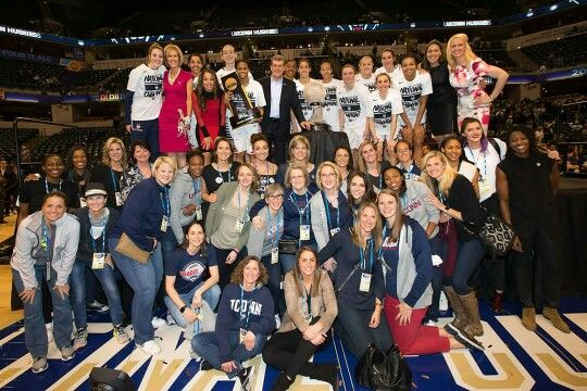2016 UCONN women's basketball 4th consecutive NCAA championship. Team photo with former UCONN players that attended the championship game.