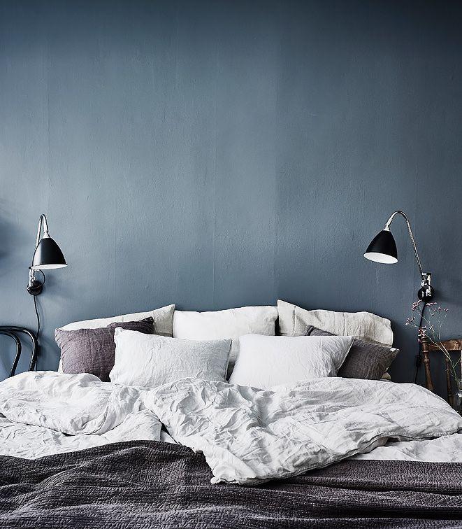 Blue Bedroom Wall   Via Coco Lapine Design