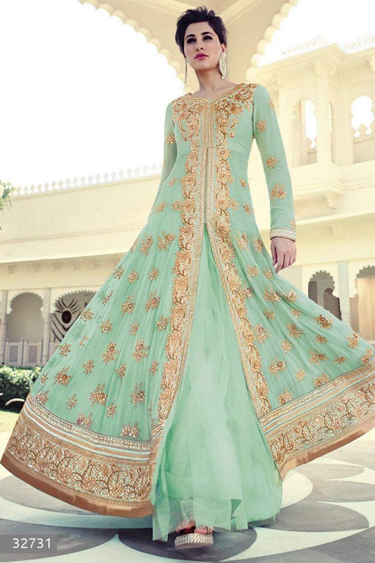 Nargis Fakhri - Green Faux Georgette Anarkali Suit with Embroidered and Lace Work - Z2570P32731-1 #designer #salwar #kameez @ http://zohraa.com/salwar-kameez.html #zohraa #onlineshop #womensfashion #womenswear #bollywood #look #diva #party #shopping #online #beautiful #salwar #kameez #beauty #glam #shoppingonline #styles #stylish #model #fashionista #women #lifestyle #girls #anarkali #suit #nargisfakhri