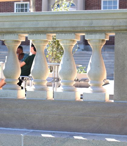 Limestone balustrade at Benenson Plaza, Tulane University