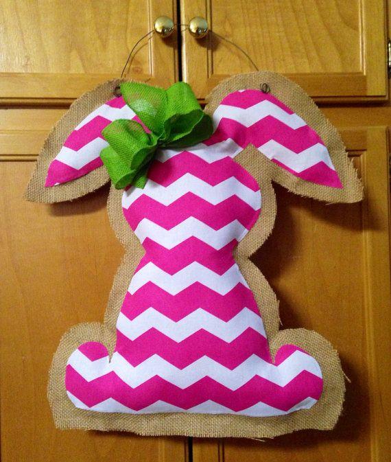 Easter Rabbit/Spring Burlap Door Hanger by BlessedwithBurlap, $25.00