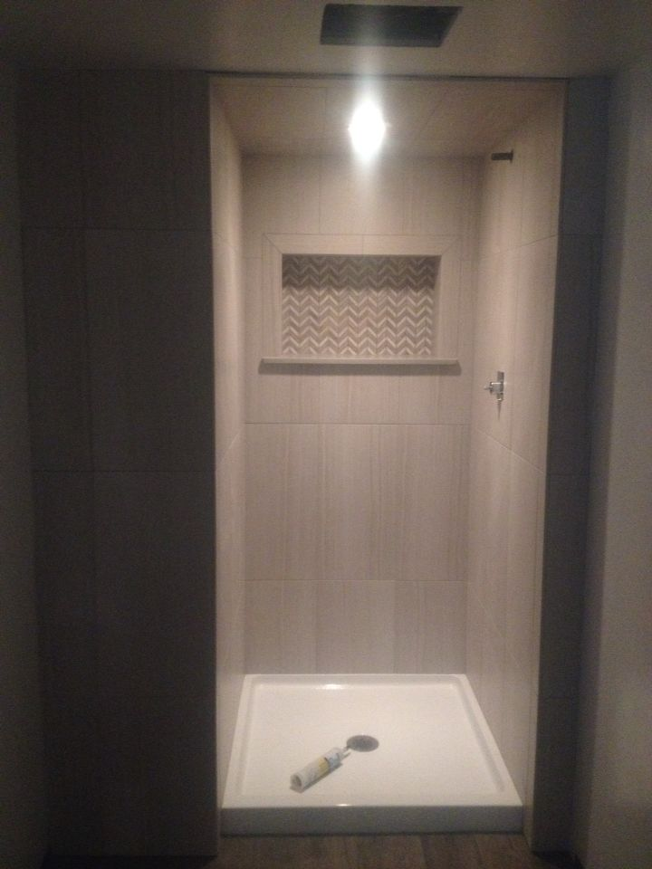 12x24 Vertical Stack Shower With Gray Linear Tile My Tile Projects Pinterest Showers