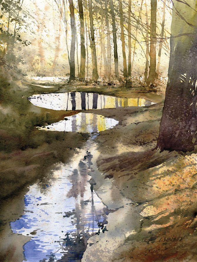 Watercolour painting woods forest puddles reflections autumn (watercolor)