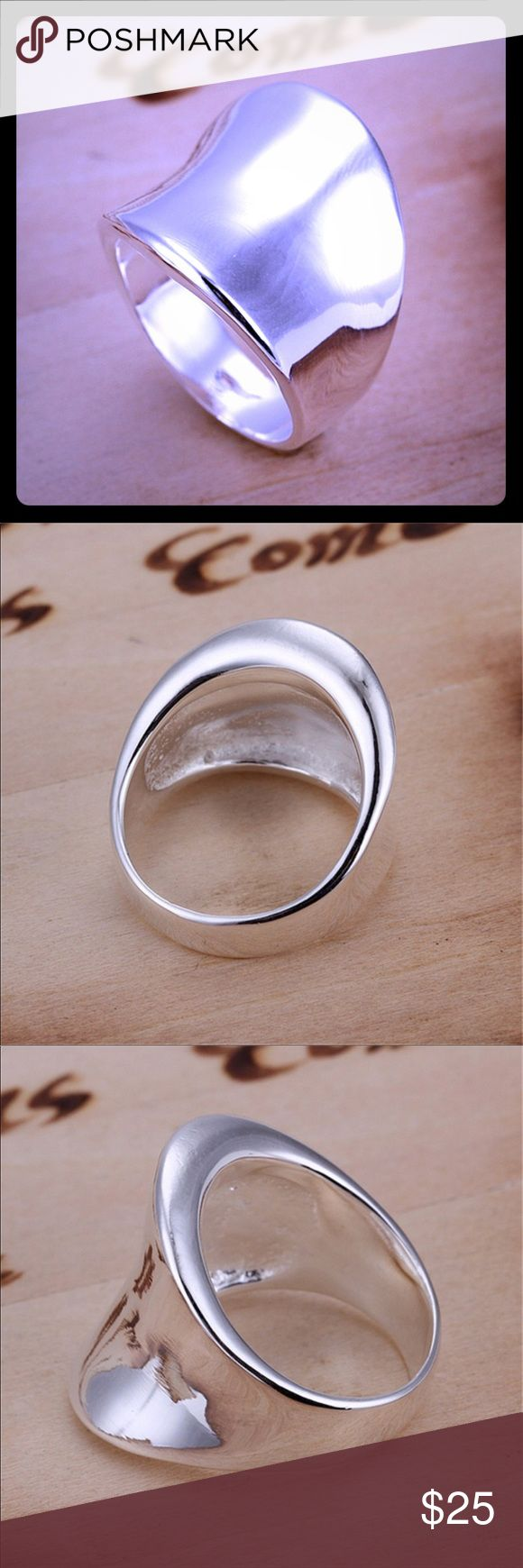 NIB Stylish and Trendy .925 SS Thumb Ring! NIB Stylish and Trendy .925 Sterling Silver Thumb Ring!  Very cool and I wear on my ring finger 😜  Material - .925 Sterling Silver Jewelry Rings