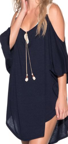 Obsessed with this navy blue cover up!