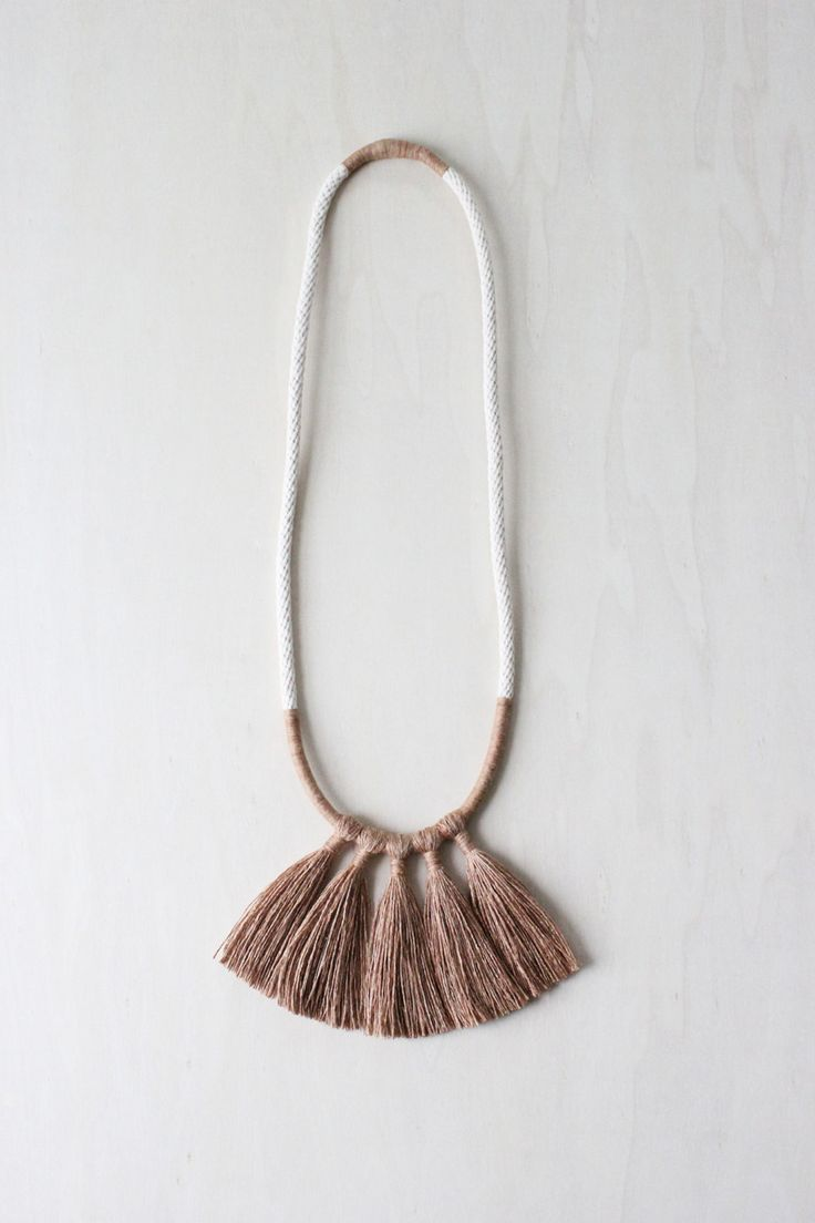medea necklace natural dye silk fringe tassel by forestiere