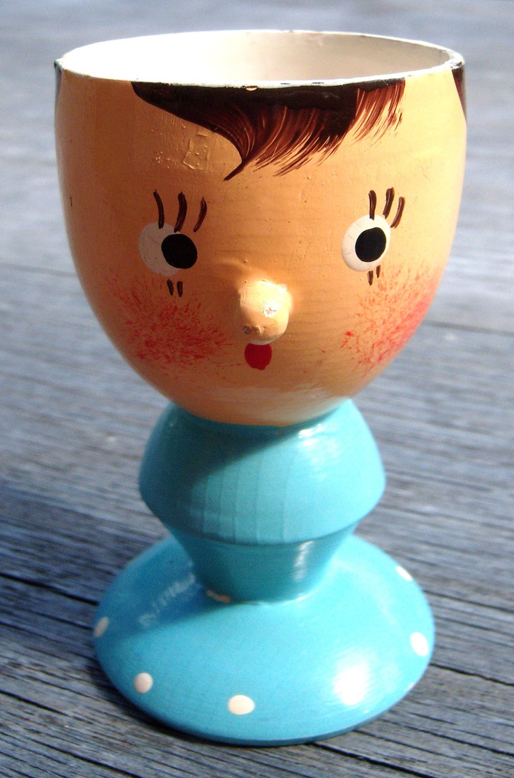 Cute vintage Italian folk painted wooden novelty egg cup