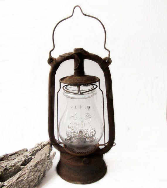 Antique lantern, Old German lantern, Vintage lantern oil