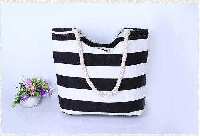 Rdywbu ZIGZAG STRIPED LARGE CANVAS TOTE BAG - Women Summer Casual Cord Shoulder Bag Female Shopping Beach Handbag Bolsas B640046