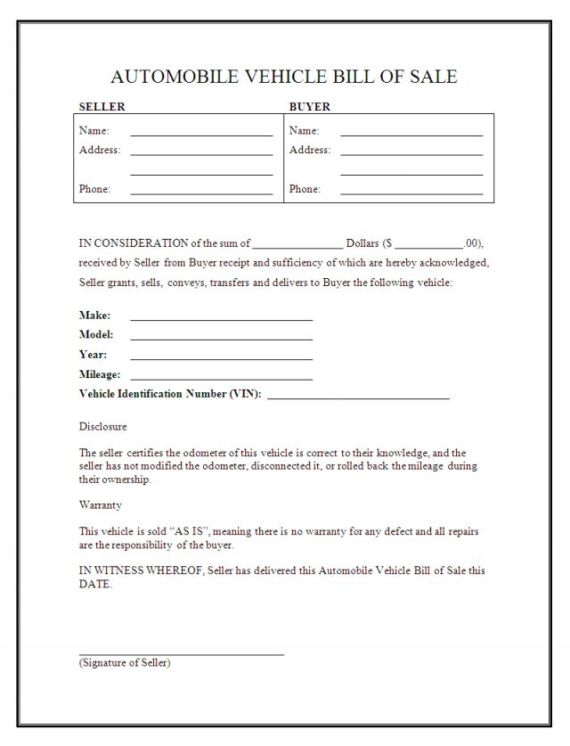 Free Automobile Bill Of Sale Form Bill Of Sale Template Bill Of