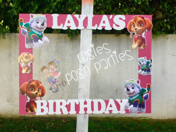 Paw Patrol Skye and Everest BirthdayFrame Photo Prop Skye Birthday Prop Everest Birthday party prop Handcrafted from Wood Paw Patrol Party