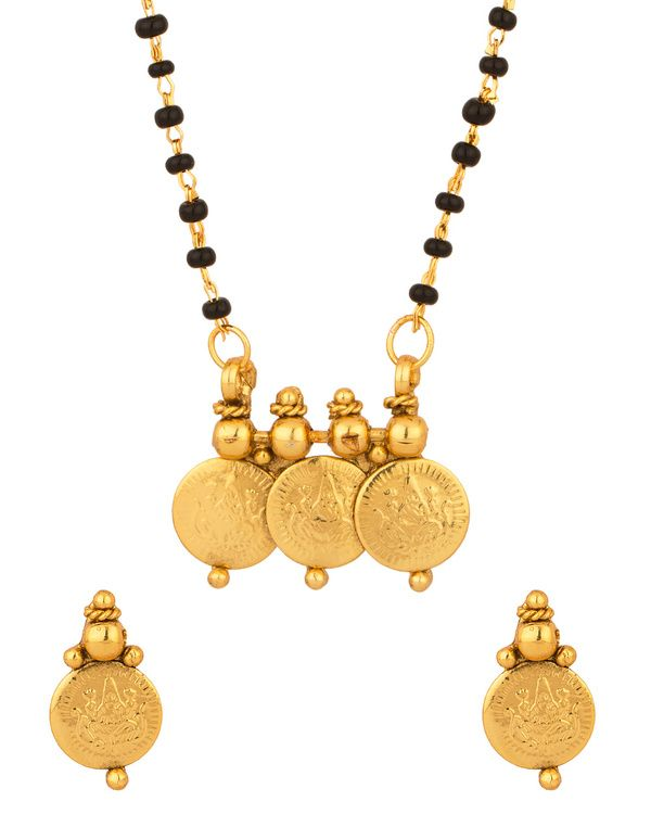 Elegant Single Chain Coin Collection Mangalsutra Set:  Buy 1 Get One 1 Free - PRODUCT CODE: SCBOM22189 PRICE: Rs. 490   Shop Now- http://www.voylla.com/jewellery/mangalsutras #mangalsutras mangalsutra designs, gold plated mangalsutras, silver plated magalsutras