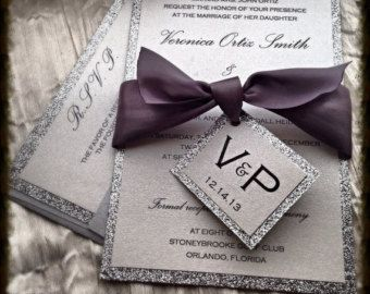 Wedding Invitations, Silver Glitter Wedding Invitation and RSVP Set with  ribbon tag
