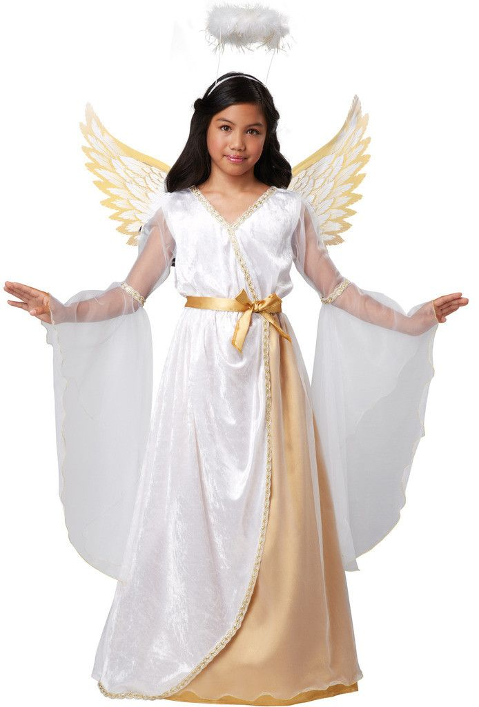 Guardian Angel Child Costume Includes: dress with attached belt, printed wings and marabou halo. Weight (lbs) 0.99 Length (inches) 15 Width (inches) 13 Height(inches) 2