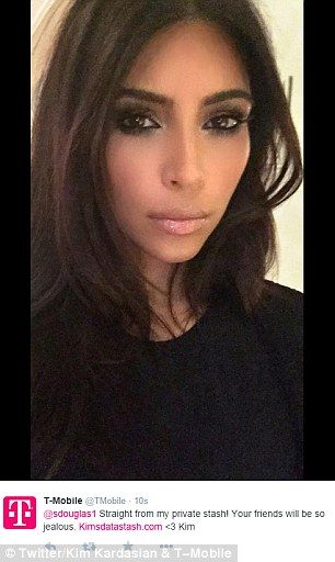 Sexy make up: Kim rocks a smokey eye in this sultry snap