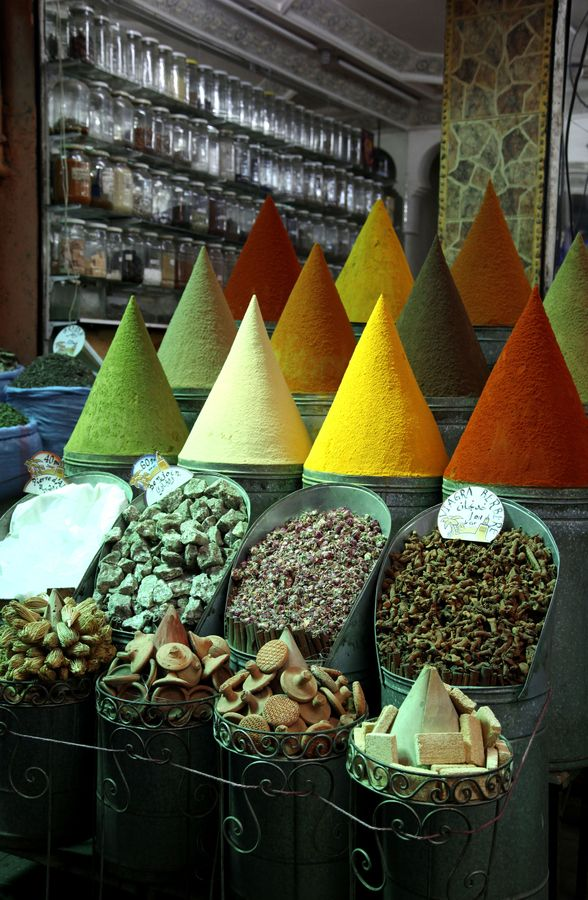 This is a store in the market in Marrakech, selling all types of spices. They make this colorful cones to indicate the type of spice that each container is holding. It was interesting to see that the spice in the low right corner presumably works as well as Viagra