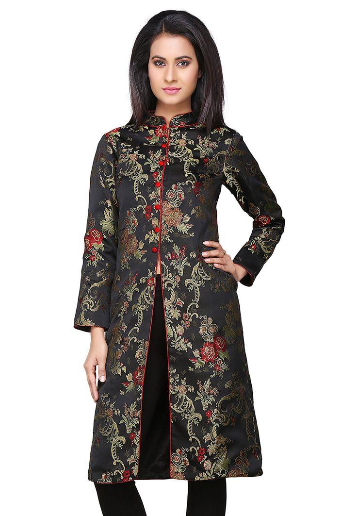 Buy Black Jacquard Long Jacket online, work: Woven, color: Black, usage: Casual, category: Indo Western, fabric: Art Silk, price: $58.02, item code: THU800, gender: women, brand: Utsav