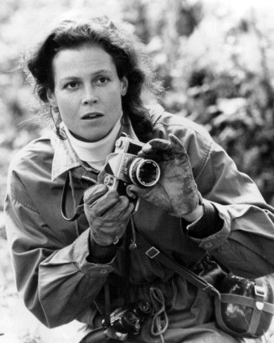 Sigourney Weaver & camera - Gorillas in the Mist: The Story of Diane Fossey (please follow minkshmink on pinterest)