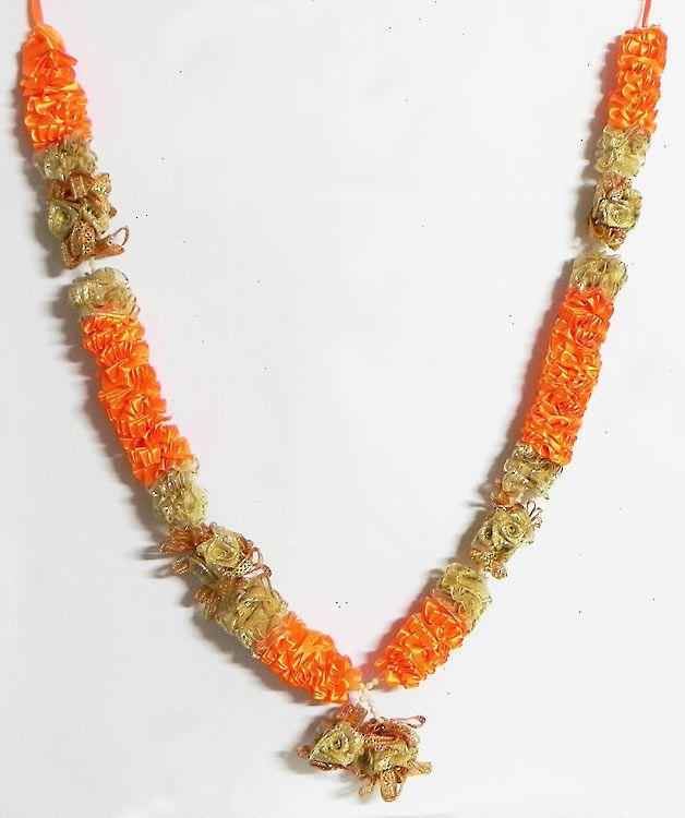 Saffron and Golden Ribbon Garland (Satin Ribbon))