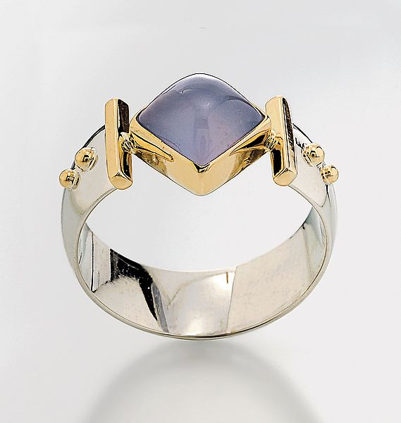 """""""Diagonal Square Ring""""        Silver, Stone and Gold Ring                                                                              Created by                          Linda Smith"""