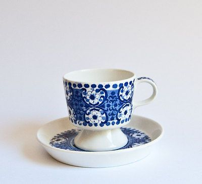 Vintage Arabia Finland - Ali Blue - Demitasse Cup and Saucer