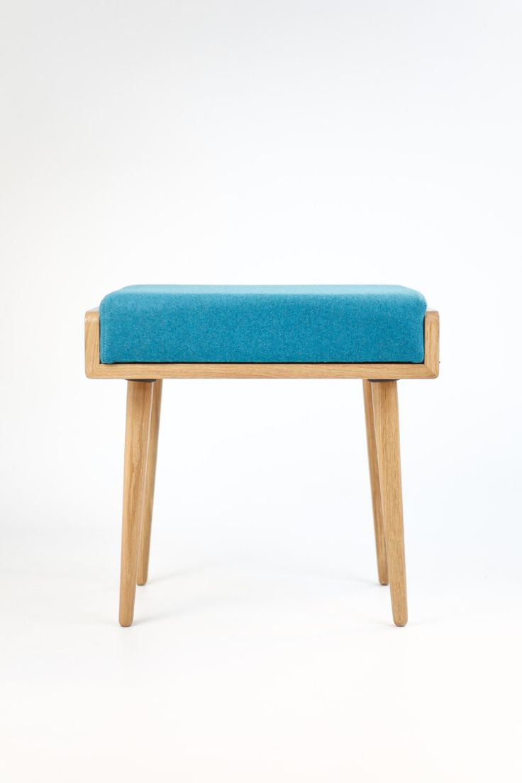 Stool / Seat / stool / Ottoman / bench made of solid oak table, oak legs, Upholstered in turquoise cool wool by Habitables on Etsy https://www.etsy.com/listing/215916802/stool-seat-stool-ottoman-bench-made-of