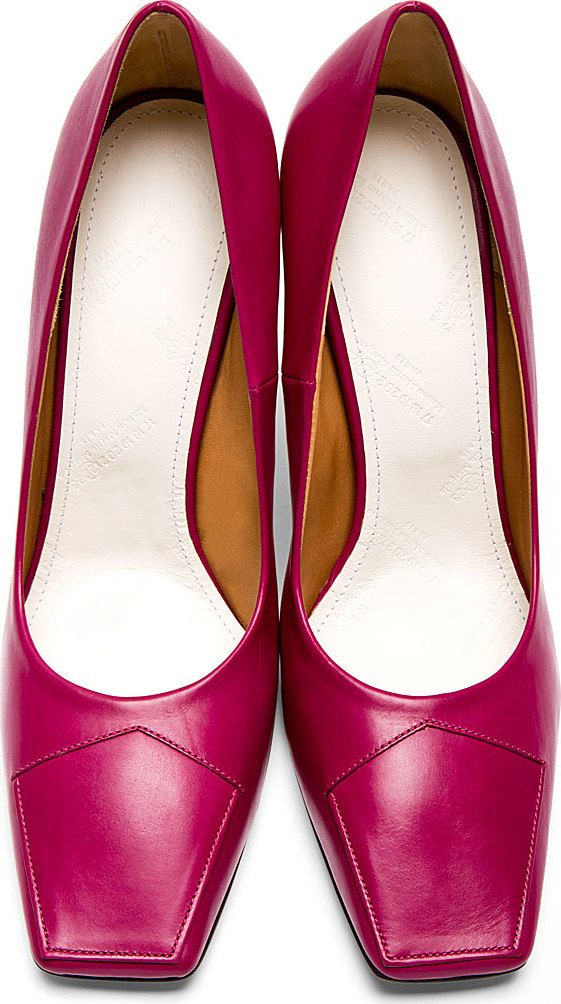 Maison Margiela: Fuchsia Cut-Out Heel Pumps | SSENSE