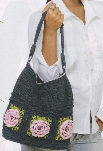 Charcoal Colored Bag with Rose Squares at bottom. Diagrams only.  ☀CQ #crochet #crafts #DIY.