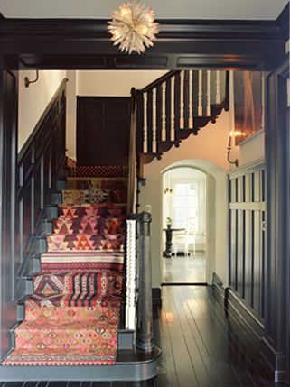 Stair runner & paint: ignore the color, but  this is what we discussed - paint risers the same color as the trim, stain treads a bit darker & use an interesting carpet runner