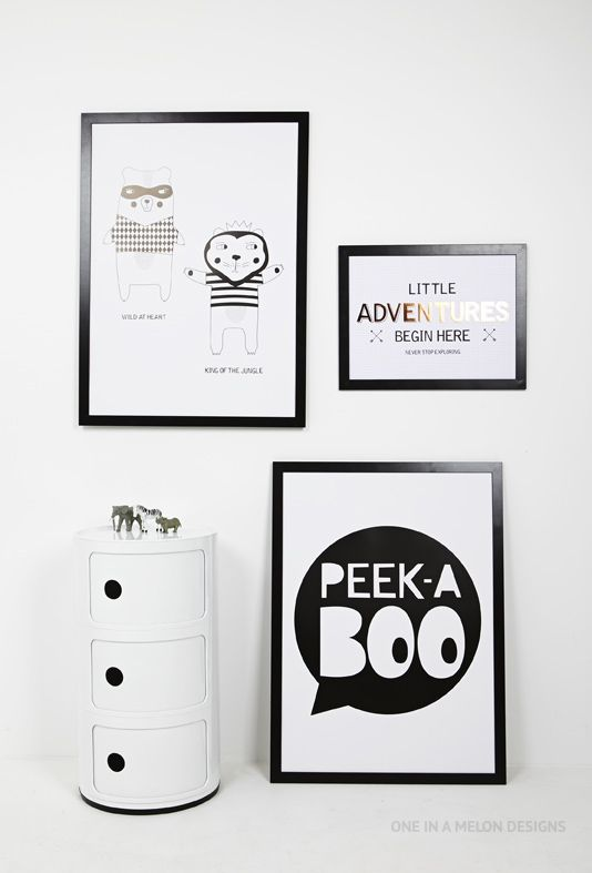 Monochrome Prints for a boys room | One In A Melon Designs
