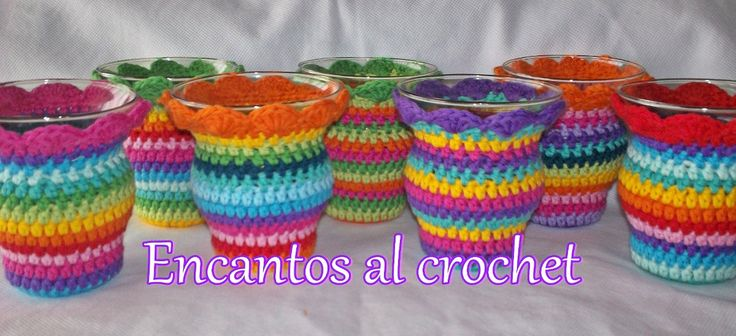 mates de vidrio forrados encantos al crochet