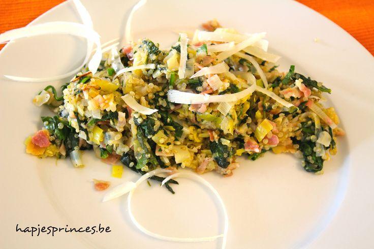 quinoa met spinazie prei en pancetta