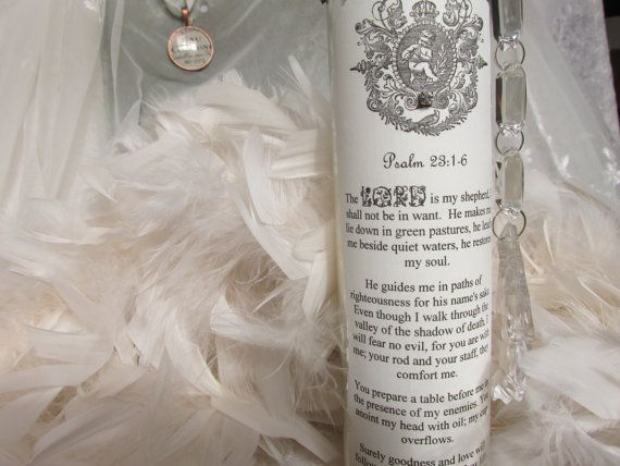 SCRIPTURE PRAYER CANDLES  Psalm 23: 1-6 by No108BellaVista on Etsy
