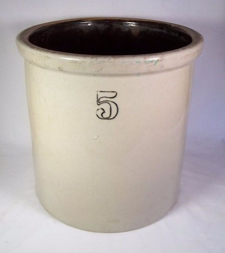 Antique Primitive Stoneware Crock - 5 Gallon - with Chips and Fractures #Americana #Unknown