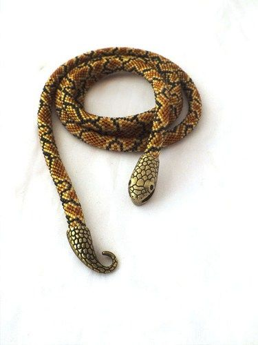 Long bead crochet rope necklace with snake skin pattern ,beaded necklace ,handmade jewellery, beadwork, snake jewelry