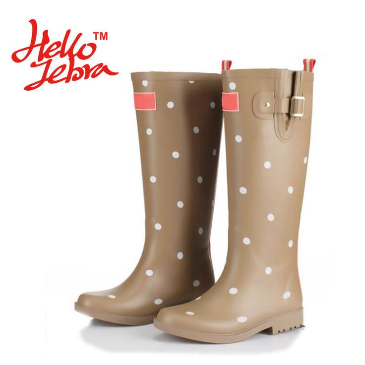 Women Fashion Rain Boots Printing Polka Dot Ladies Rubber MIid-Calf Heels Waterproof Buckle Rainboots 2016 New Fashion Design