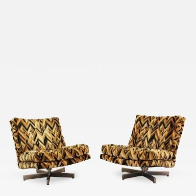Mid Century Modern Pair Milo Baughman Chrome Lounge Slipper Swivel Chairs by Milo  Baughman