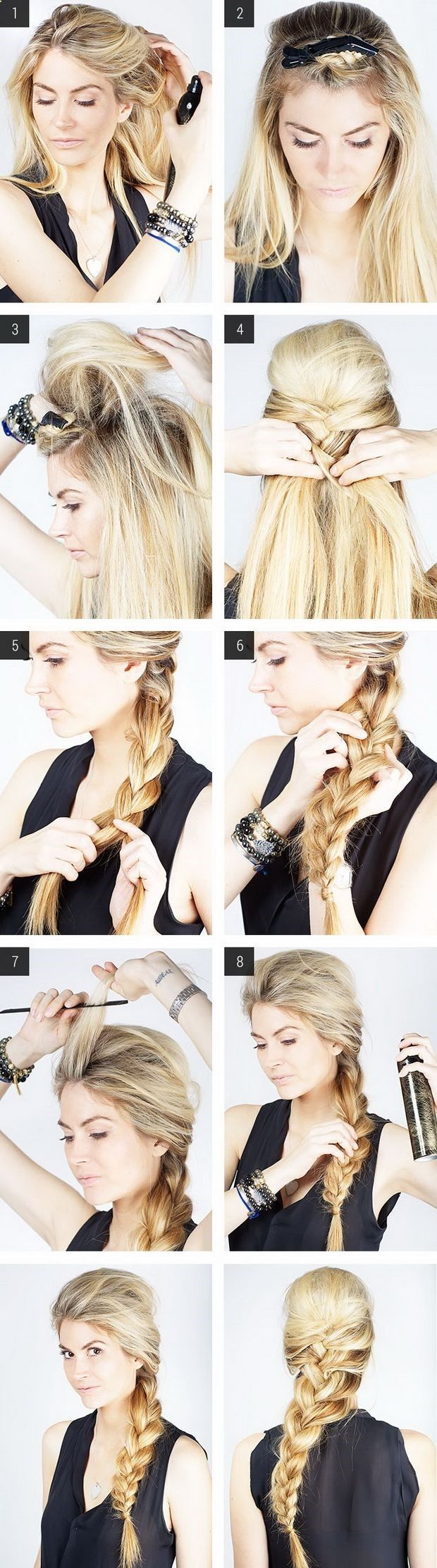 Messy French braid with poof