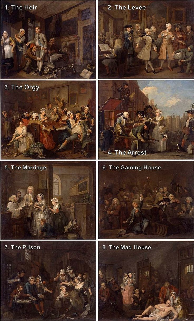 "William Hogarth, A rake's progress (1733) ""The eight paintings in William Hogarth's A Rake's Progress (1733) tell the story of Tom Rakewell, a young man who follows a path of vice and self-destruction after inheriting a fortune from his miserly father."""