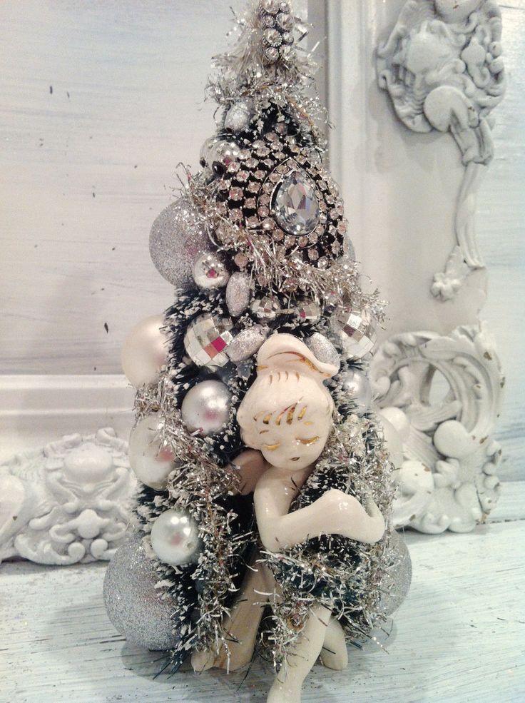 vintage silver christmas angel bottle brush tree vintage ornaments rhinestone ebay - Ebay Christmas Trees