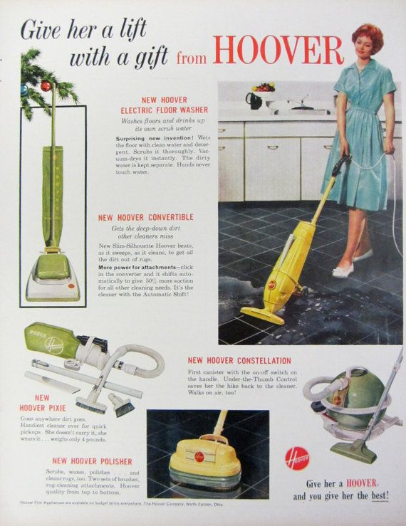 This original vintage Christmas magazine advertisement for Hoover Vacuum Cleaners was carefully rescued from a December 1959 issue of McCalls