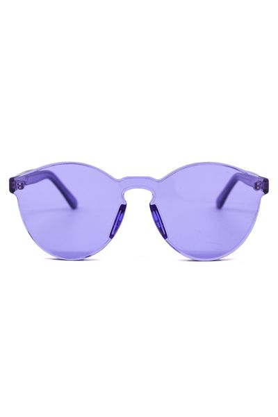 "These unique sunglasses by BZR are acrylic molded, creating a futuristic and minimal vibe. The all-over color keeps them lighthearted and fun! Dimensions: Measures 5.75"" across. Details: UV protected."