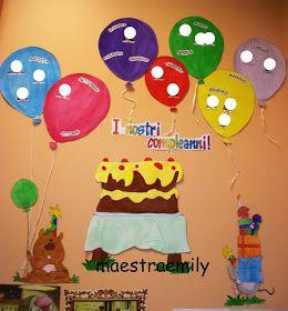 scuola dell'infanzia, bambini, classe, aula, sezione, chiocciole, compleanni, festa, addobbi, cartellone, torta